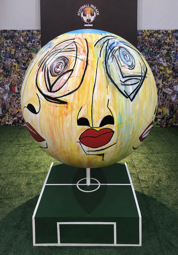 • Custom-painted giant soccer ball for Football Parade, a public art exhibition in São Paulo, Brazil. @raloschi #raloschi